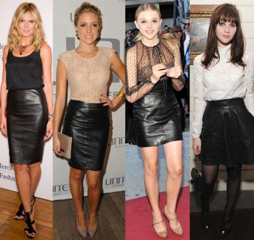 Черная кожаная юбка-карандаш: с чем носить?